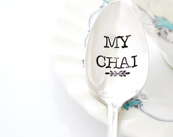 My Chai, hand stamped spoon. Stamped silverware for chai tea lover gift idea