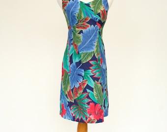 80's Vintage Hawaiian Dress, Printed Sheath Dress, Fitted Sleeveless Dress, Women's Small