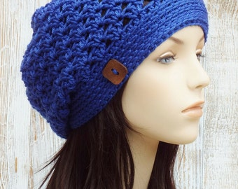 Crochet Slouchy Hat -  Womens Lapis Blue Slouchy Hat - Crochet Slouch Hat - Button Beanie Hat - Winter Accessories // THE RILEY //