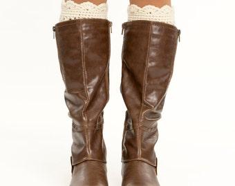 Ivory / Cream Crocheted Ruffled Boot Cuffs, Boot Topper, Scalloped, Knitted, Handmade Knit Women's Winter Accessory, Crochet Boot Warmer