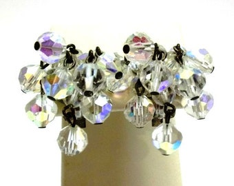 Laguna Crystal Dangle Earrings Faceted Crystal Bead Cha Cha Earrings Aurora Borealis Crystal Earrings Wedding Bridal Earrings DD 566
