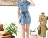 Vintage 90s Denim Dress Button Down Short Sleeve Mini Dress