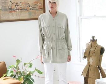 Vintage 90s Safari Jacket or Tunic  XL Minimalist Simple Chic