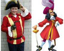 Upcycled Peter Pan Costume,  Captain Hook Pirate Costume (Red Coat, Hat and Hook) Tinkerbell and Friends, Adult Large
