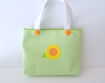 Small Green Checked Sunflower Purse with Orange Buttons - Floral Purse - Sunflower Handbag