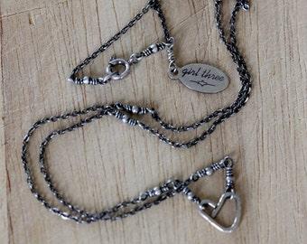 sterling silver tiny heart pendant | teeny silver heart necklace | sterling silver beaded chain | minimalist jewelry | handmade | girlthree