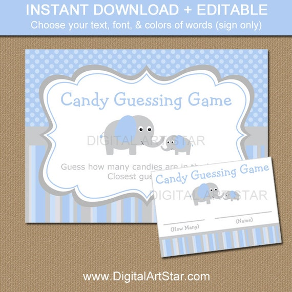 elephant candy guessing game elephant guess how many game grey blue elephant baby shower. Black Bedroom Furniture Sets. Home Design Ideas