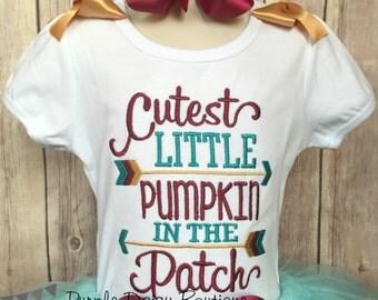Cutest Little Pumpkin in the Patch Embroidered Shirt - Halloween, Pumpkin Patch, Pumpkin Picking, Fall Photos