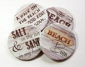 Drink Coasters, Beach House Decor, Coasters, Hostess Gift, Tableware, Barware, Cottage Chic, Beach Coasters, Beach Bum, Salt and Sand (5098)