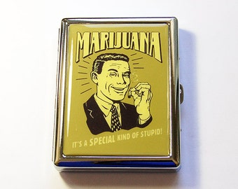 Funny cigarette case, Retro Design, Marijuana case, cigarette box, Metal Cigarette Box, Humor, Case for Pot, Funny case (5145)