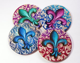 Coasters, Drink Coasters, fleur de lis, Tableware, Gifts for the Hostess, Tableware, Quebec, Fleur de Lis Coaster, Set of Coasters (5160)