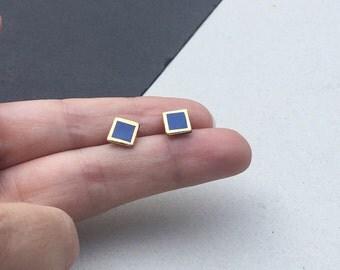 Porcelain earrings, square stud earrings- navy blue, gold frame, small geometric post earrings studs, gift for her