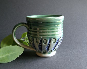 Watering Garden, Lightning Latte Cup in White Stoneware and Two Greens with Texture