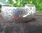 Sterling Silver Bracelet Wide Cuff Vintage Wilbur Tracy Navajo Native American Indian Journey Storytelling