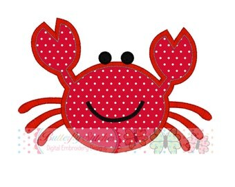 Crab Summer Digital Machine Appliqué Embroidery Design