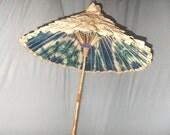 Vintage Parasol, Unbrella, Ruffled Crepe Paper, Ecru, Shabby