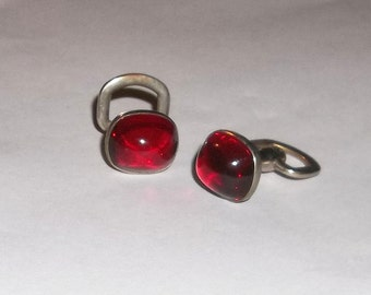Vintage Cuff Links, Ruby Red Domes, Fathers Day