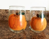 Hand Painted Stemless Wine Glasses - Pumpkin Stemless Glasses - Gift Idea