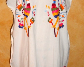 White Ethnic Embroidered  Summer Beach Cover Up Dress Tunik (one size)FREE SHIPPING