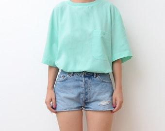 Vintage silky mint pastel green women tshirt