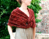 The Claddagh Wrap ~ Hand Knit Merino Wool and Linen Cape Caplet Shawl Infinity Wrap in Deep Burgundy Marsala Red Honey Gold and Flax