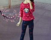 Pink polka dot tee with panda face graphic for slim msd bjd, resinsoul minifee,1/4 bjd, unoa