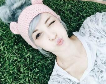 Pale Pastel Pink Bear Ear Ear-Warmer Headband