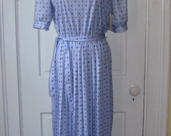 Vintage 80's AJAX PAISLEY PLEATED Dress // Periwinkle Purple Blue Shirtwaisted Belted Deadstock Dress Size 12 Medium Midi