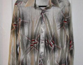 JOHN BLAIR MENSWEAR // 70's Print Shirt Disco Size M Pointed Collar Geometric Red White Black Gray Pearl Buttons