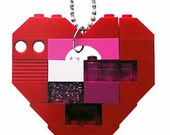 "Playful Red necklace - Chunky heart pendant - made from LEGO (R) bricks on a 24"" Silver/Gold plated ballchain"