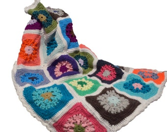 Crochet Granny Square Afghan, Circle in Square, Small Afghan
