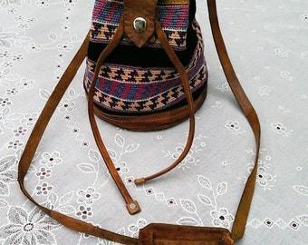 Vintage Small Southwest Leather Trim Handbag