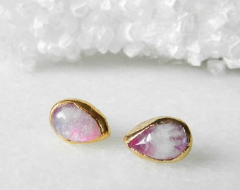 moonstone earrings, moonstone studs, gold earrings, teardrop earrings, pear shaped, electroformed jewelry, pear cut earrings