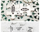 STORE CLOSING SALE Together Forever Never Apart, Couples Gift, Puzzle Piece, Key Chains, Hand Stamped
