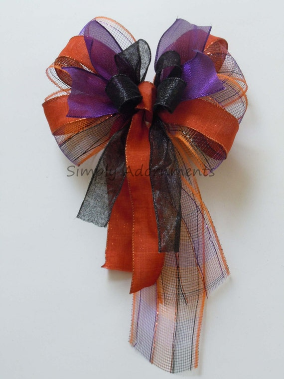 Orange Black Purple Halloween Wreath Bow Trick or Treat Wreath Bow Halloween Door Hanger Bow Halloween Party Decor Halloween Home Decor Bow