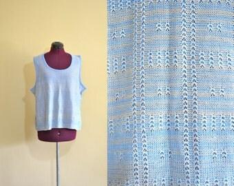 1970s Vintage Plus Size Lane Bryant Blue Knit Sweater Vest size XXL XXXL bust 46