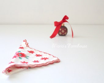 Handkerchief, Mid Century, Christmas Hanky, Ladies' Handkerchief, Secret Santa Gift, Lavender Sachets, Victorian Boudoir