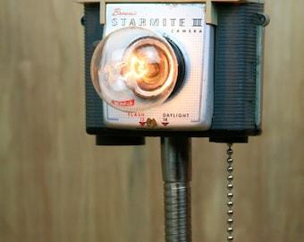 Funky Modern Upcycled - Camera Lamp - Kodak Starmite 2 - Grey on Grey