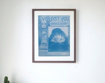 """I've Lost You - Vintage Piano Sheet Music Print - 16"""" x 20"""" Framed  FREE SHIPPING"""