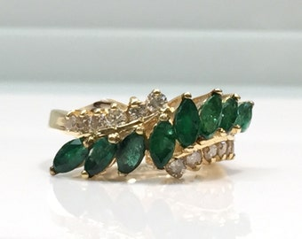 Emerald and Diamond Ring in 14K Gold