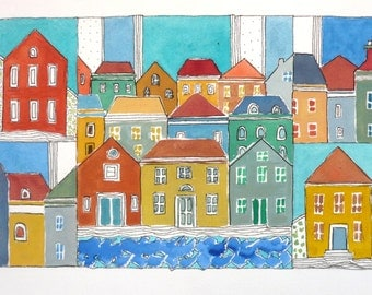 """Art And Collectibles ,  Watercolor Painting ,  """" Waterfront Town """"  , Mixed Media Painting"""