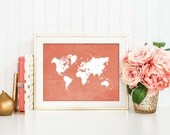 Coral Map Poster, World Map Print, Map Silhouette, Chic Office Decor, Coral Nursery Art, Nursery Decor, Coral Home Decor, Map Wall Art, P016