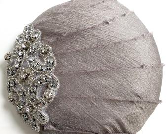 OOAK Dressy Silver Rheinstone Wedding Headpiece fascinator