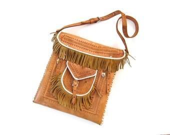 SALE Tooled Leather Purse / 60s Hippie Bag / Crossbody Purse / Fringed Bag / Bohemian Satchel