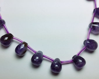 Amethyst Puff Teardrop Beads 11mm - 12mm