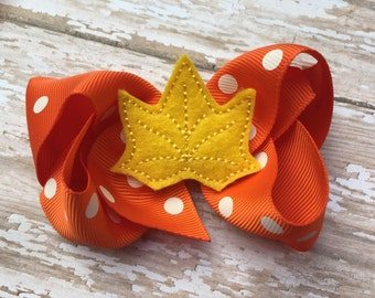 Fall hair bow - Halloween bow, fall bow, 4 inch boutique bow, girls hair bows, toddler bows, boutique bows, 4 inch bows