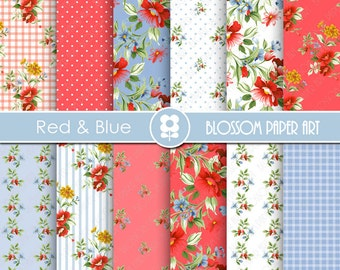 Red Digital Paper Pack, Red Floral Digital Papers, Red and Blue Flowers, Digital Scrapbooking Pack - Roses - 1944