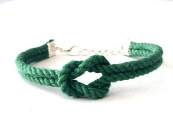 Adjustable Nautical Twisted Rope Knot Bracelet Green Tie The Knot Bracelet