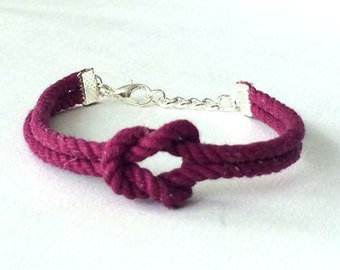Adjustable Nautical Twisted Rope Knot Bracelet Raspberry Tie The Knot  Bracelet Twist Cord