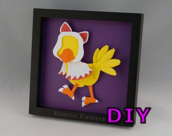 Chocobo White Mage DIY Final Fantasy Shadow Box